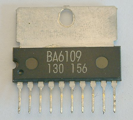 BA6109 Reversible motor driver  The BA6109 is a monolithic IC used for driving reversible motors. Two control logic inputs allow three output modes: forward, reverse, and stop. When switching from the forward or reverse mode to the stop mode, a brake is applied by absorbing the counterelectromotive force of the motor. The IC has a built-in function to absorb motor rush currents that occur when switching the output mode. Output voltage is determined by the external constant voltage diode connected between pin 4 and GND. The motor drive transistor can tolerate a rush current of up to 8OOmA. The IC can drive motors with various operating voltages. Because the IC operates with a current less than 50 �A, you can directly connect the IC with CMOSs or other control logic outputs.  * Features 1) Motor driving power transistors are built in; a rush current up to 8OOmA is allowable. 2) Brake is applied when stopping the motor. 3) Built-in function to absorb motor rush currents. 4) Interfaces with MOS LSI devices. 5) Small number of external parts. 6) Wide range of operating suppiy voltage (6 - 18V). 7) Available in a 10-pin SIP package.