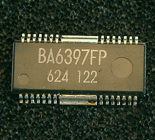 BA6397FP  4-channel BTL driver for CD players  The BA6397FP is a 4-channel BTL driver for CD player motors and actuators. The 5V regulator and internal standard operational amplifier make this IC suited to a broad range of applications.  * Applications CD players and CD-ROM drives  * Features 1) HSOP 28-pin package allows for miniaturization of applications. 2) Low number of external components. 3) Driver gain is adjustable with a single attached resistor. 4) Internal 5V regulator. (requires attached PNP transistor) 5) Internal standard operational amplifier. 6) Internal thermal shutdown circuit.