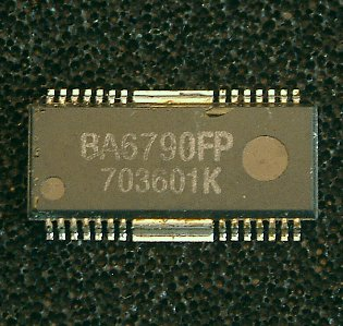 BA6790FP / BA6791FP  4-channel BTL driver for CD players  The BA6790FP and BA6791FP are 4-channel BTL drivers for CD player actuators and motors. These ICs have internal 5 V regulators and general purpose operational amplifiers, and are mounted to a 28-pin HSOP package, allowing for the miniaturization of applications.  * Applications CD players and portable CD  * Features 1) 4-channel BTL driver. 2) HSOP 28-pin package allows for miniaturization of applications. 3) Wide dynamic range. (typically 5.4V when VCC = 8V and RL = 8W) 4) Internal thermal shutdown circuit. 5) Gain is adjustable with a single attached resistor. 6) Internal 5V regulator. (requires attached PNP transistor) 7) Internal general purpose operational amplifier.
