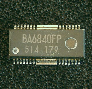 BA6840BFS / BA6840BFP-Y / BA6840BFP / BA6842BFS   3-phase motor driver  The BA6840BFS, BA6840BFP-Y, BA6840BFP, and BA6842BFS are one-chip ICs designed for driving CD-ROM motors. They are high performance-ICs with a 3-phase, full-wave, pseudo-linear drive system.  * Applications CD-ROM/RW, DVD-ROM/PLAYER  * Features 1) 3-phase, full-wave, pseudo-linear drive system. 2) Start / stop pin; power saving during stop mode. 3) Internal current limit circuit. 4) Internal thermal shutdown circuit. 5) Internal hall bias circuit.