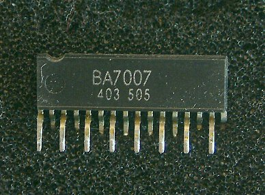 BA7007 SECAM discriminator IC  The BA7007 is a SECAM discriminator suitable for use in video cassette recorders. The BA7007 includes a pre-limiter circuit, detector, slicer-tuning amplifier and comparator. By adding a ceramic filter, and LC circuit for the fHor/2 Oscillation frequency, and a few resistors and capacitors it is possible to construct an extremely sensitive SECAM discriminator using a simple circuit with low space requirements that will lead to lower costs and better performance and reliability.  • Applications SECAM discriminator for VCRs.  • Features 1)Extremely stable SECAM discrimination even with power supply and burst-signal input level fluctuations. 2)Digital conversion-type integration is used to ensure a large noise margin, and give high sensitivity. 3)Low variation in discriminator sensitivity means that adjustment is not necessary. 4)Few external components required. 5)Large current output capacity.
